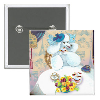 White French Poodle Tea Party 15 Cm Square Badge