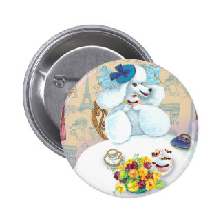 White French Poodle Tea Party 6 Cm Round Badge