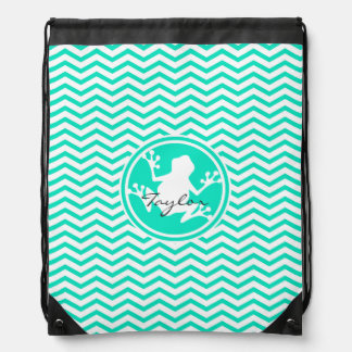 White Frog; Aqua Green Chevron Drawstring Bag