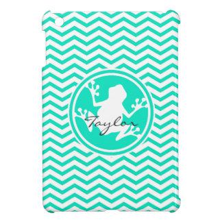 White Frog Aqua Green Chevron iPad Mini Cover
