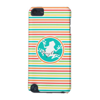White Frog Bright Rainbow Stripes iPod Touch (5th Generation) Cover