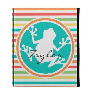White Frog Bright Rainbow Stripes iPad Folio Cases