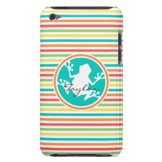 White Frog Bright Rainbow Stripes iPod Touch Cover