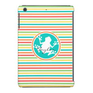 White Frog Bright Rainbow Stripes iPad Mini Retina Cases