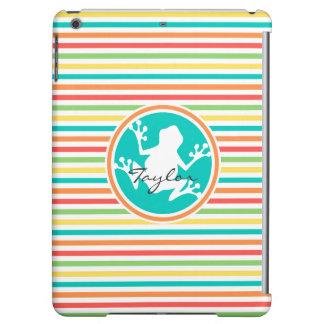 White Frog Bright Rainbow Stripes iPad Air Cover