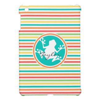 White Frog Bright Rainbow Stripes Case For The iPad Mini