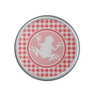 White Frog; Red and White Gingham Bluetooth Speaker