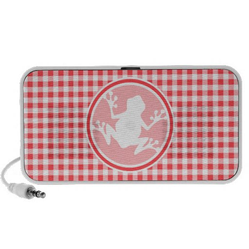 White Frog; Red and White Gingham Travel Speakers