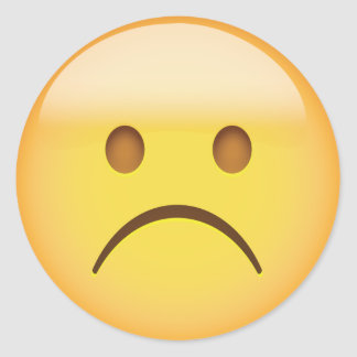 White Frowning Face Emoji Round Sticker