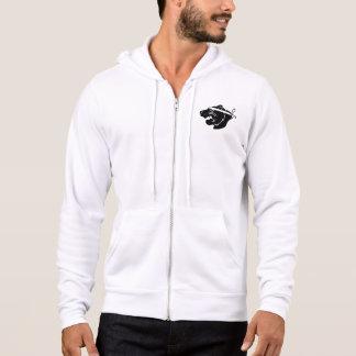 White full-zip hoodie with black NinjaBear logo