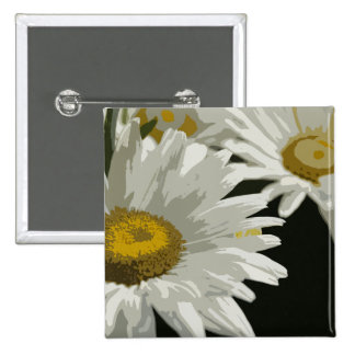 White  Garden Daisy 15 Cm Square Badge