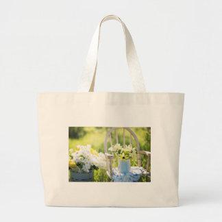 White Garden Flowers Jumbo Tote Bag