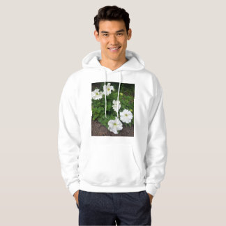 White garden flowers photograph hoodie