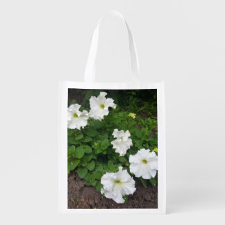 White garden flowers photograph reusable grocery bag