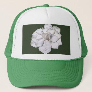 White Gardenia Flower on Green Trucker Hat