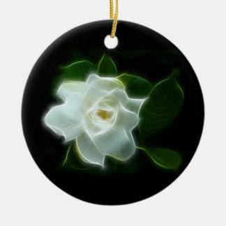 White Gardenia Flower Plant Ceramic Ornament