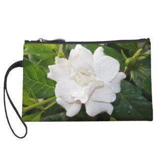 White gardenia flower wristlet clutch