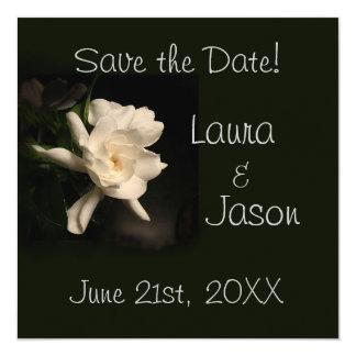 """White Gardenia """"Save the Date""""  Square Card 5.25"""" Square Invitation Card"""