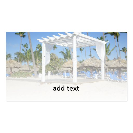 white gazebo on a tropical beach business cards