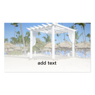 white gazebo on a tropical beach pack of standard business cards