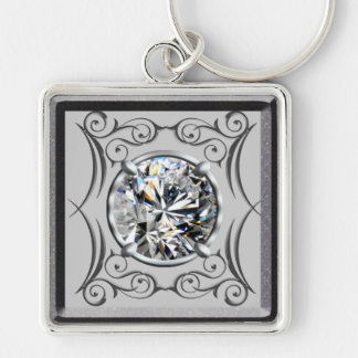 White Gem Design Silver-Colored Square Key Ring