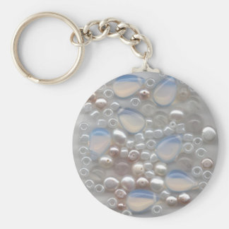 White Gems Basic Round Button Key Ring