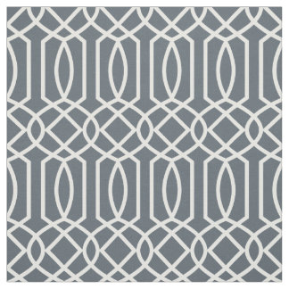 White geometric on dark background fabric