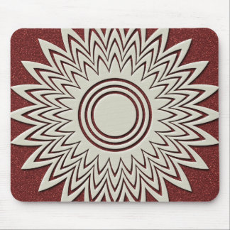 White Geometrical Flower Mouse Pad