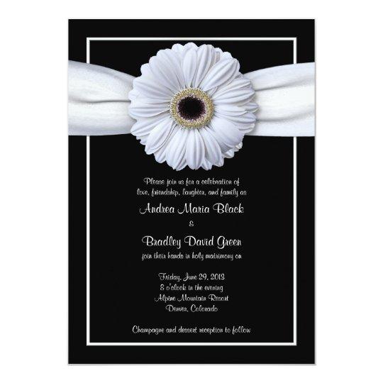 White Gerbera Black Background Wedding Invitation