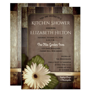 White Gerbera Daisy on Rustic Wood Kitchen Shower Card
