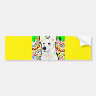 White German Shepherd Bling Bumper Sticker