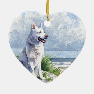 White German Shepherd Ceramic Ornament