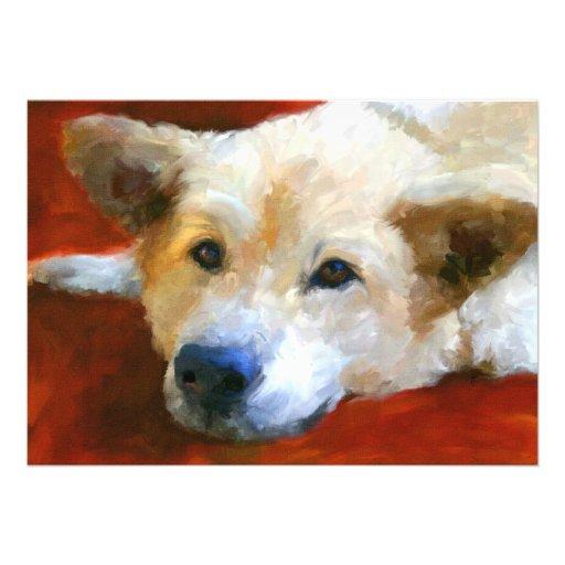 White German Shepherd Dog 5x7 Mini Prints Invite