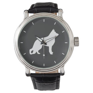 White German Shepherd Dog Silhouette Watch