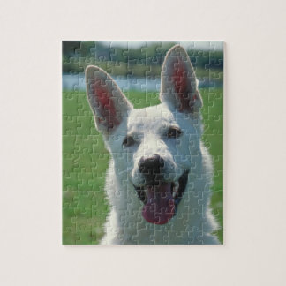 White German Shepherd Dog Tin with Puzzle