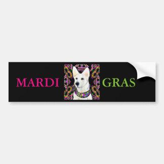 White German Shepherd Mardi Gras Bumper Sticker