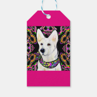 White German Shepherd Mardi Gras Gift Tags