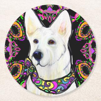 White German Shepherd Mardi Gras Round Paper Coaster