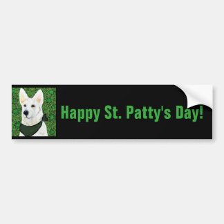 White German Shepherd St. Patty Bumper Sticker