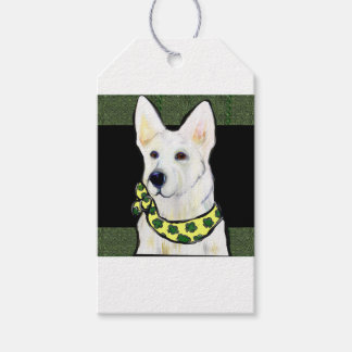 White German Shepherd St. Patty Gift Tags