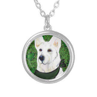 White German Shepherd St. Patty Silver Plated Necklace