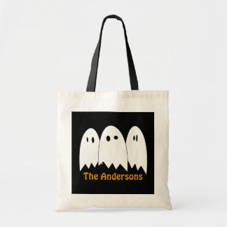 White ghost trio Halloween candy trick or treat Budget Tote Bag