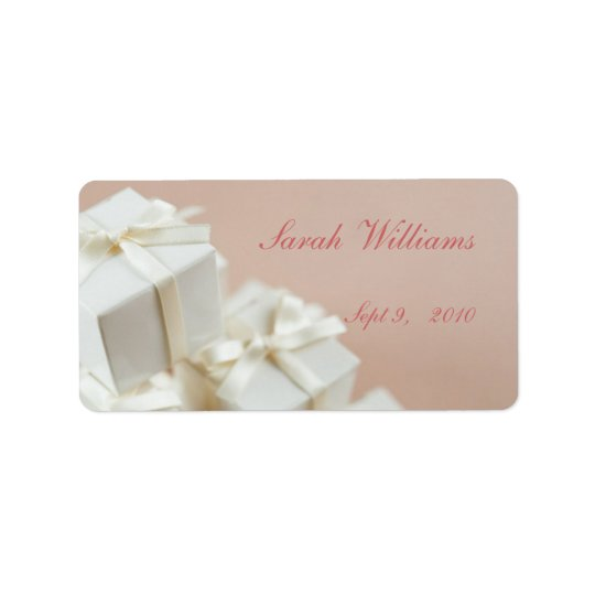 White Gifts Bridal Shower Label