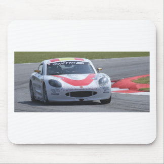 White Ginetta racing car Mouse Pads