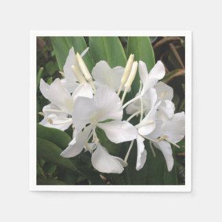 White Ginger Lily Disposable Napkins