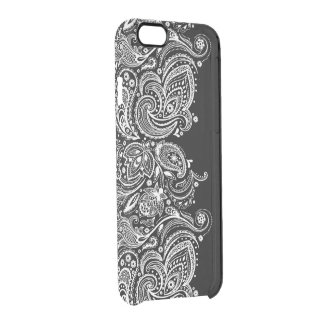 White Girly Paisley lace On Black Clear iPhone 6/6S Case