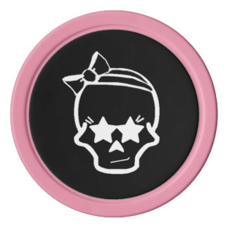 White Girly Skull with a Bow Line Art on Dark Poker Chips