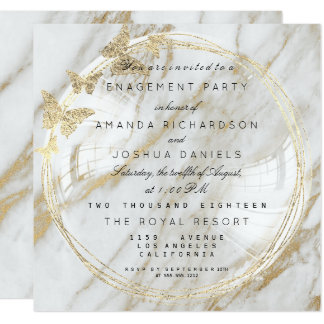 White Glass Bubble Wedding Engagement Marble Card