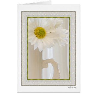 White glass with daisies 4 card
