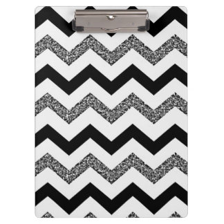 White Glitter Chevron Clipboard